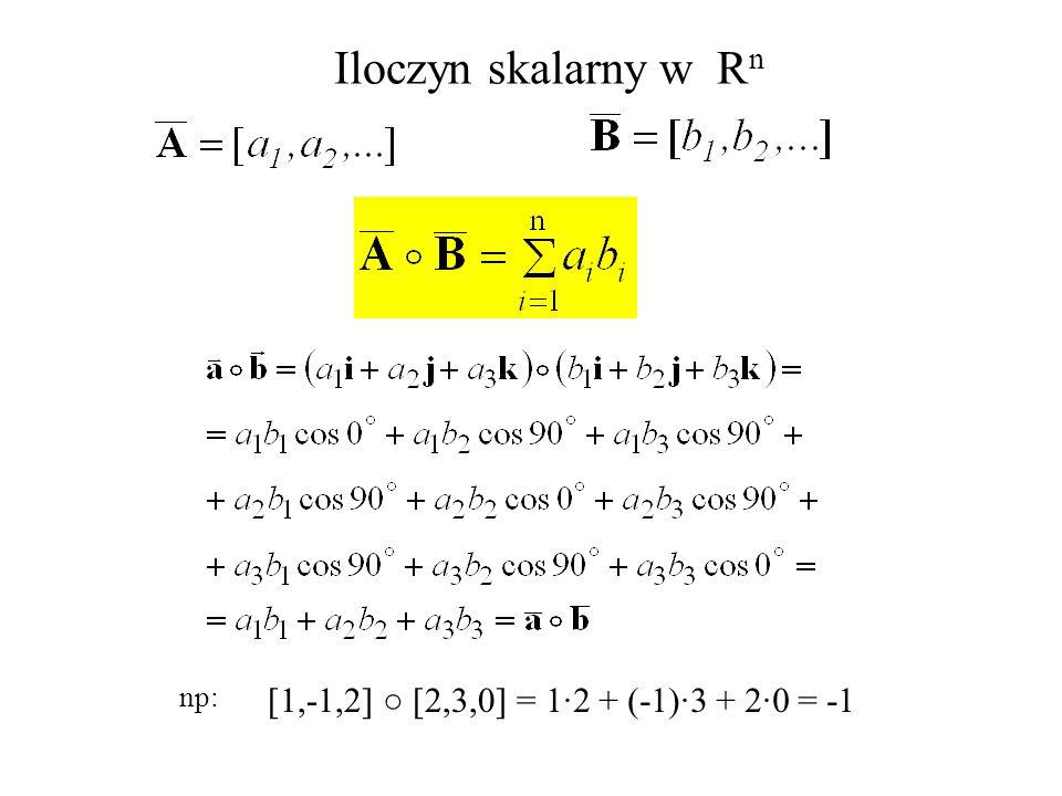 Iloczyn skalarny w Rn np: [1,-1,2] ○ [2,3,0] = 1·2 + (-1)·3 + 2·0 = -1